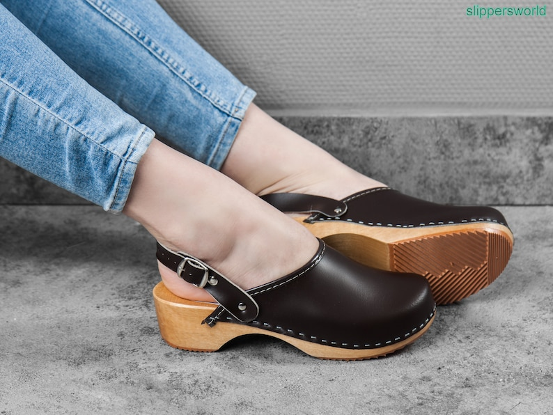 133bb4cc2308a Swedish Leather Clogs For Women - Handmade Brown Sandals With Wooden Soles  - Ladies Wood Sweden Shoes With Strap - UK Size 3 4 5 6 7 8