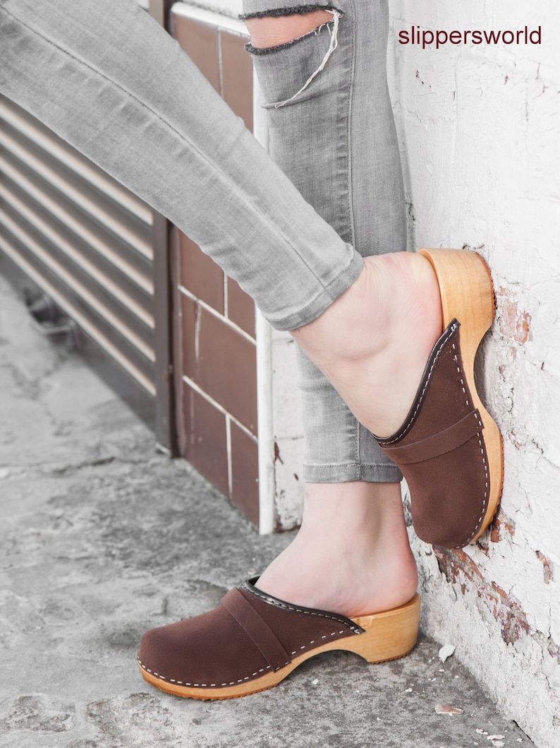 4a3b922598869 Swedish Velour Clogs For Women - Handmade Light Brown Sandals With Wooden  Soles - Ladies Wood Sweden Shoes - UK Size 3 4 5 6 7 8