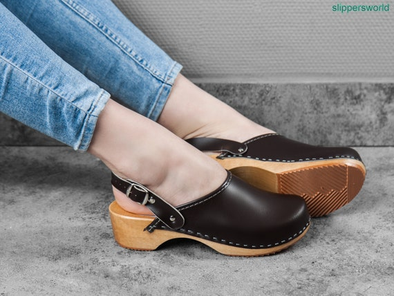 8c13d53a663 Swedish Leather Clogs For Women - Handmade Black Sandals With Wooden Soles  - Ladies Wood Sweden Shoes With Strap - UK Size 3 4 5 6 7 8