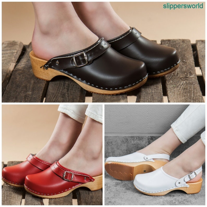 bd49953183c0b Swedish Leather Clogs For Women - Handmade Brown Red White Sandals Wooden  Soles - Ladies Wood Sweden Shoes With Strap - Many Sizes