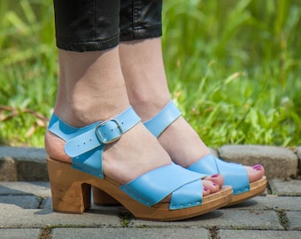Wooden clogs Peep Toe Bright Blue Leather - Leather Sandals  - comfortable wooden clogs  - handcrafted Women's Clogs