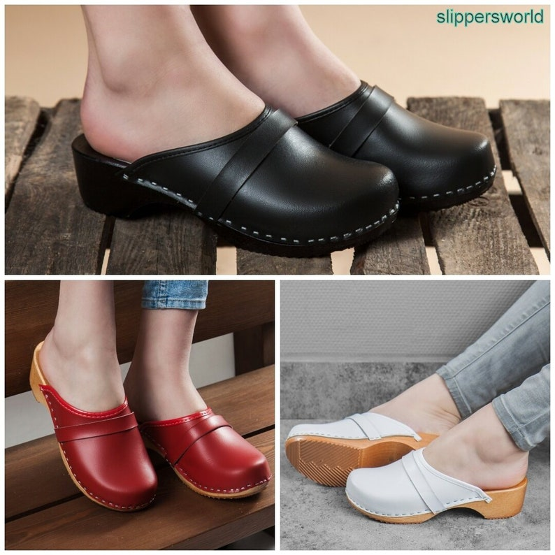1fcbc25ef5695 Swedish Leather Clogs For Women - Handmade Black Red White Sandals With  Wooden Sole - Ladies Wood Sweden Slip On Shoes - UK Size 3 4 5 6 7 8