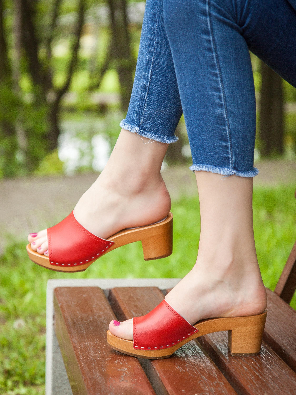 Swedish Women Clogs slide shoes Carmel Leather Clogs Wood Soles White Clogs Wooden Clogs Clog Sandals