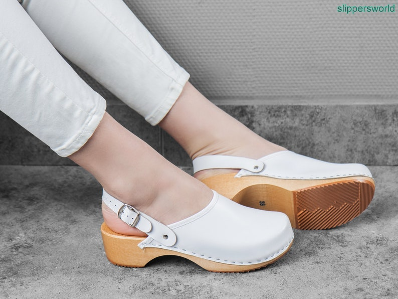 050ee840aed Swedish Leather Clogs For Women - Handmade White Sandals With Wooden Soles  - Ladies Wood Sweden Shoes With Strap - UK Size 3 4 5 6 7 8