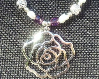 Silver Rose Pearl Necklace