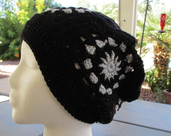 Sparkle Motif Black and Gray Hat