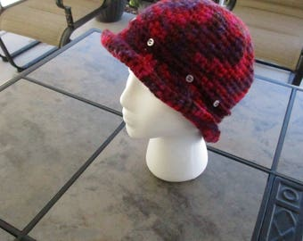 Brim Hat - Red and Purple with rolled brim