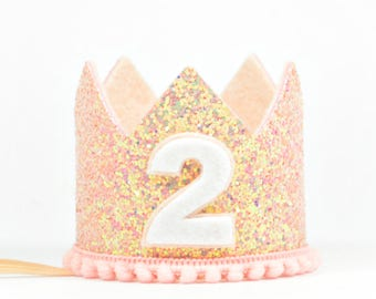 Second Birthday Crown | Second Birthday Party Hat | Pink Glitter Crown | Glitter Crown | Birthday Girl Outfit | 2nd Birthday Cake Smash