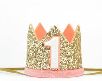 First Birthday Crown | 1st Birthday Party Hat |Gold Glitter Crown | Birthday Girl Outfit | Birthday Outfit Girl | Birthday Party Blush Crown