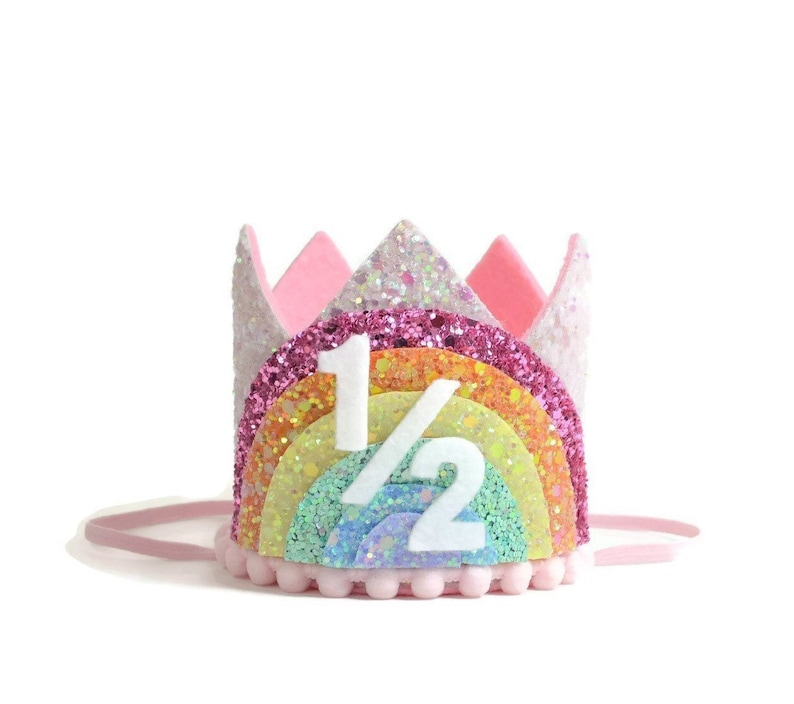 half birthday girl  Pastel Rainbow Birthday Crown  Rainbow image 1