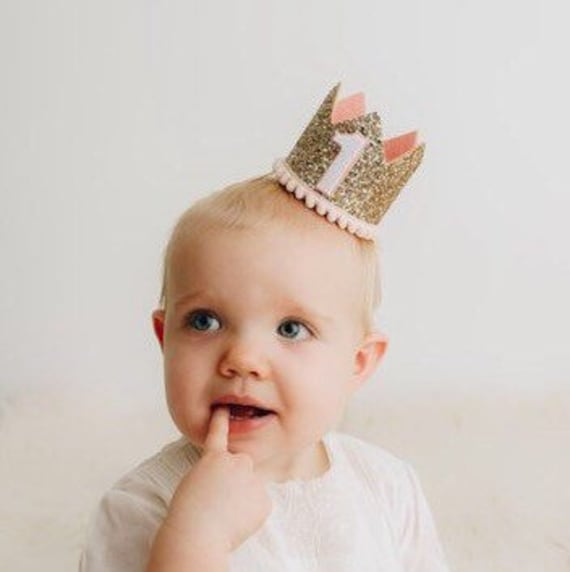 Birthday Crown Of Pale Gold Glitter and Blush Felt First Birthday Crown Birthday Girl Outfit 1st Birthday Crown Birthday Party Hat