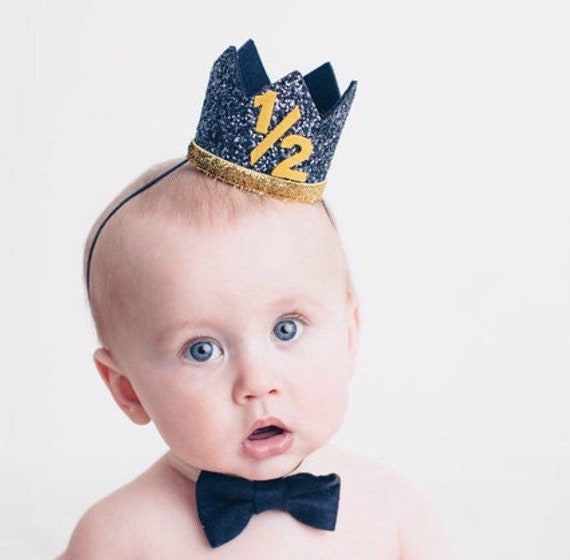 Navy Half Birthday Boy Crown 1 2 Party Hat
