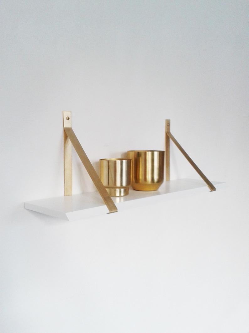 the latest bf620 6c84a Brass brackets wall shelf brass wall shelf white white