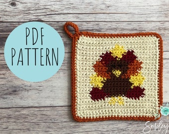 Crochet Turkey Potholder Pattern, Crochet Thanksgiving Pattern, Crochet Turkey Pattern, Intarsia Crochet, Crochet Potholder, Crochet Hot Pad