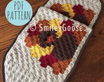 Crochet Thanksgiving Table Runner Pattern, Crochet Thanksgiving Pattern,Turkey Table Runner Pattern,C2C Crochet Pattern,C2C Graphgan Pattern