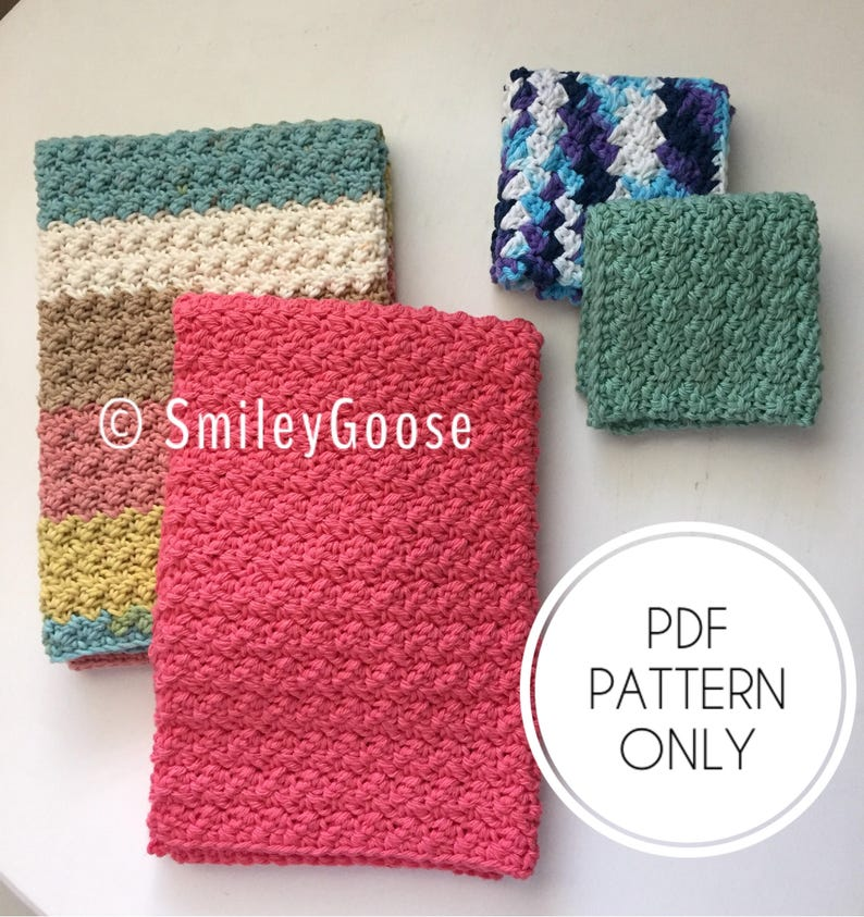 Crochet Dishcloth Kitchen Towel Pattern Modern Dishcloth Etsy