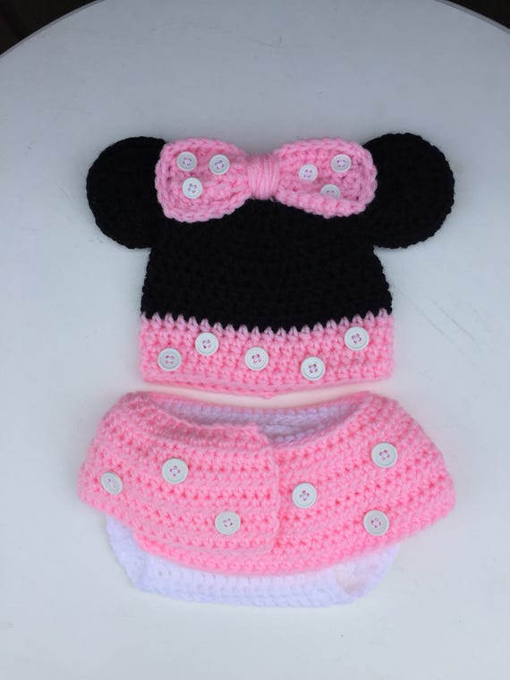 Minnie Mouse Baby Hat Minnie Mouse Inspired Baby Hat Diaper Etsy
