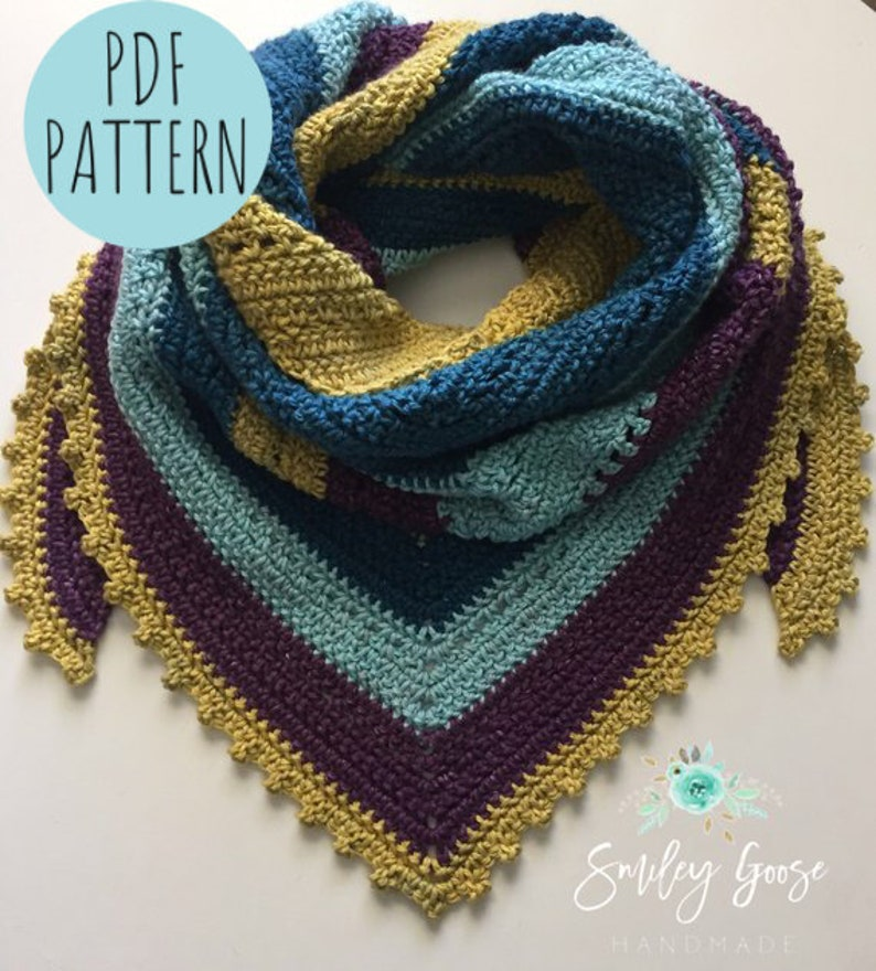 Crochet Triangle Scarf Pattern Crochet Wrap Pattern Crochet Etsy