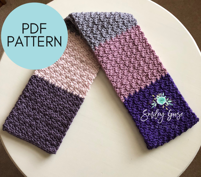 Chunky Crochet Scarf Pattern Bulky Yarn Pattern Etta Etsy