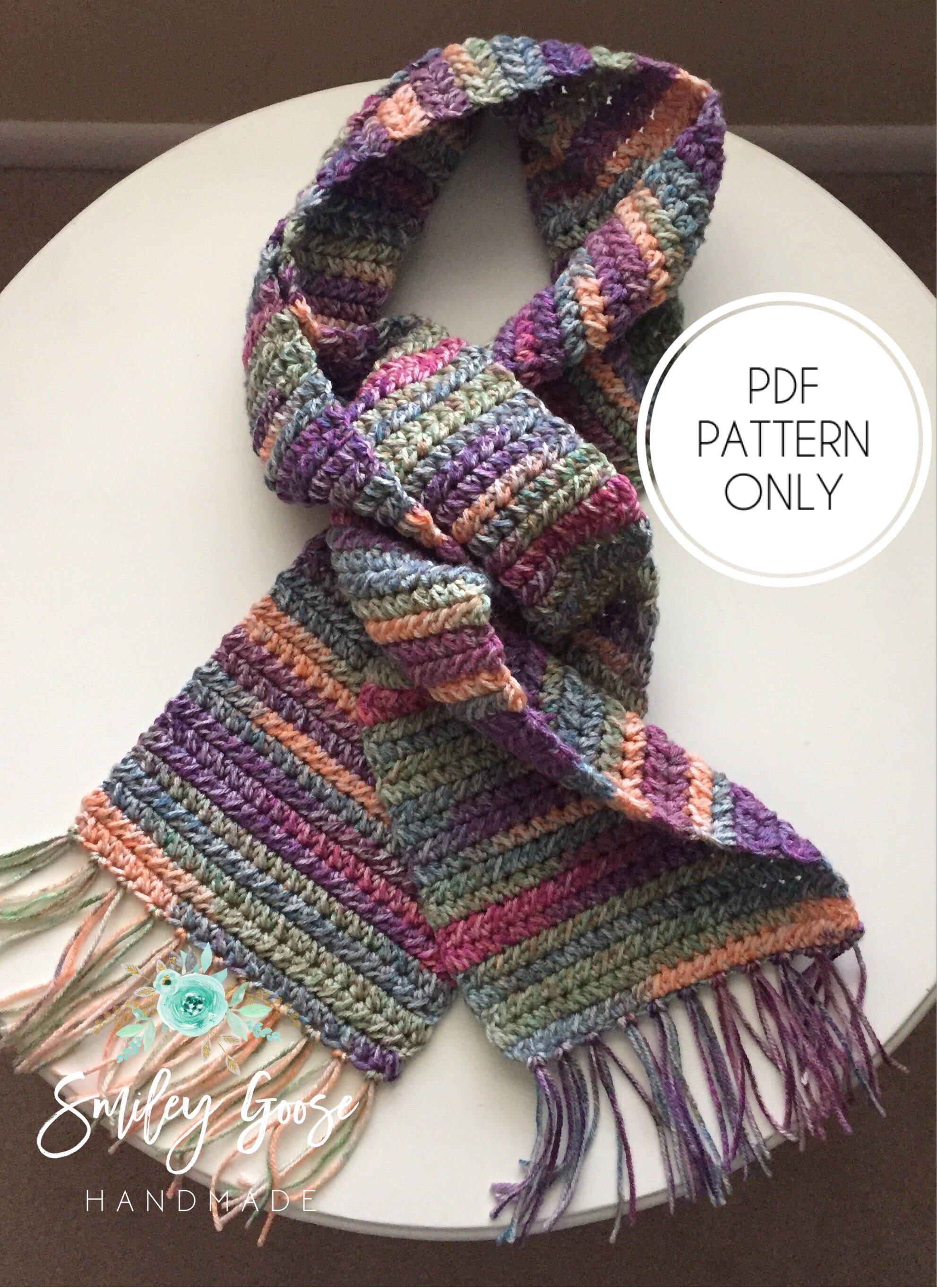 Crochet Scarf Pattern Kayson Scarf Easy Scarf Pattern Long Etsy
