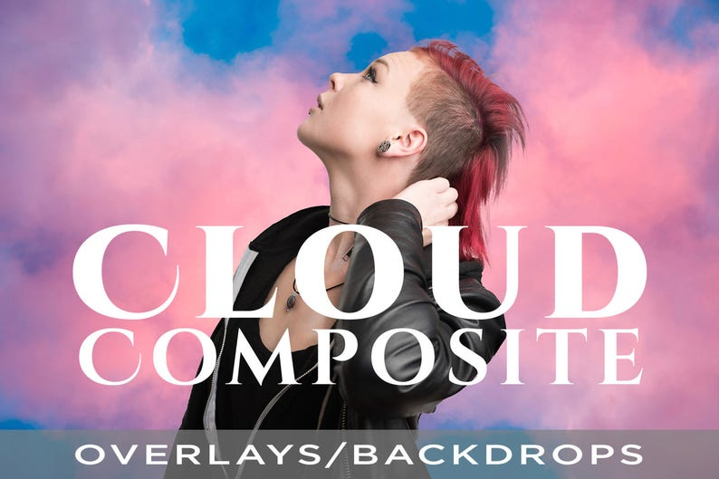 15 Colorful Cloud Composite Overlays / Backdrops Real Cloud image 0