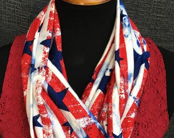 USA scarf, American Scarf, Red White Blue Scarf, 4th of July Scarf, USA infinity scarf, Infinity Scarf,  Fourth of July Scarf, Unique Scarf