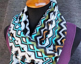 Aztec Scarf, Tribal Print Scarf, Chevron Scarf, Turquoise Scarf, Fashion Scarf, Infinity Scarf, Dressy, Unique Scarf, Mother's Day Gift,