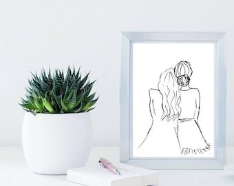 Fashion Illustration Print, Best Friends, Girlfriends, Wedding Print, Present, Bridesmaids Gift, Wall Art, Black and white, Printable