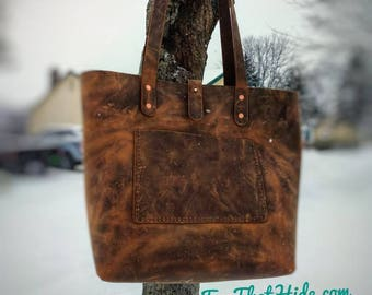 Tote Purse Full Grain Leather hides from the USA, Saddle Stitched by hand  with pull up waxed Leather and Bridle Leather Handles. b0b3d9cc06