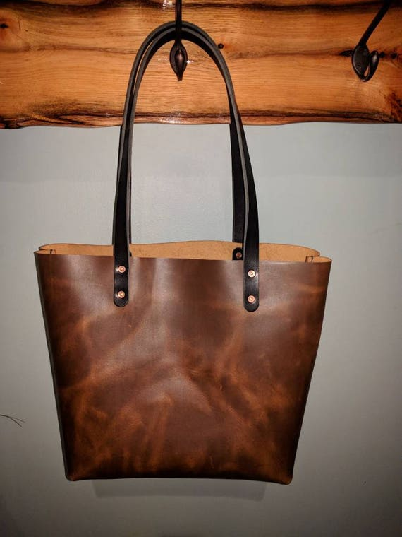 0a6c3b7a6994 Tote Purse Full Grain Leather hides from the USA Saddle