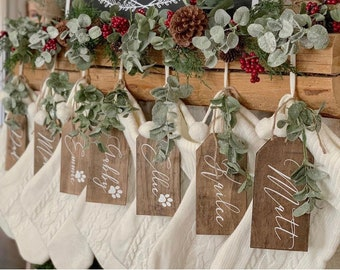 Christmas Stocking Tag / Stockings /Rustic/Hand painted Fireplace/Christmas