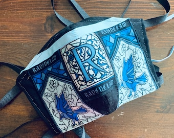 Ravenclaw Face Mask - Harry Potter Mask with Filter Pocket House Ravenclaw - PM 2.5 filter included - No Center Mask Seam