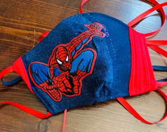 PM 2.5 filter included -Childs Spiderman Superhero  Mask with Red Filter Pocket - Made in the USA- No Center Mask Seam