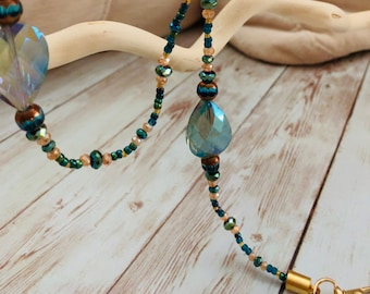 Gold and Teal Crystal Mask Chain -Mask Lanyard