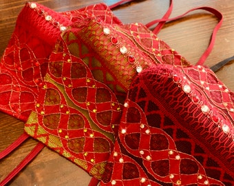 Lace and Crystal  Mask with Filter Pocket  - PM2.5 filter included