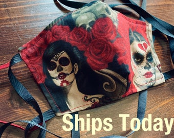 PM 2.5 filter included -Skulls & Roses Day of the Dead Mask with Filter Pocket - Made in the USA- No Center Mask Seam