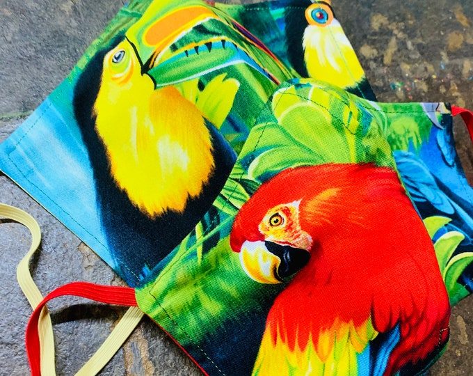 Tropical Birds Face Mask with Filter Pocket - PM2.5 filter included