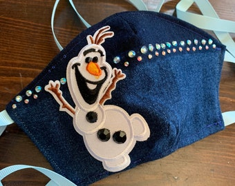 PM 2.5 filter included -Childs Frozen Olaf Mask with Filter Pocket and Swarovski Crystal Detail - Made in the USA- No Center Mask Seam