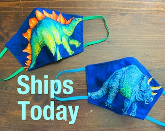 Dinosaur Mask with Filter Pocket  - PM2.5 filter included  - Made in the USA- No Center Mask Seam