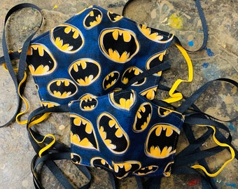RARE Vintage Blue Logo Batman Mask with Filter Pocket - Only 4 Available- PM 2.5 filter included