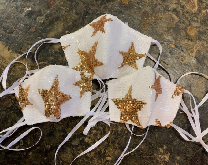 Sequin Star Mask with Filter Pocket - 3 Layers - PM2.5 filter included