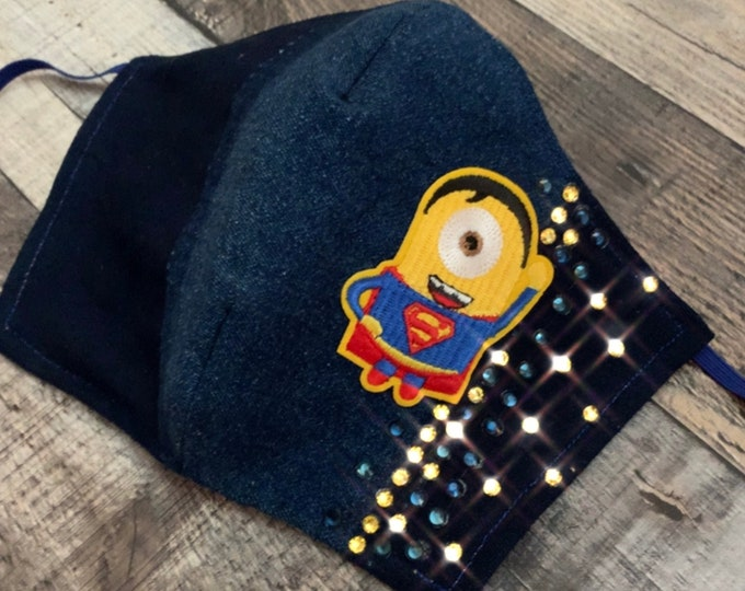 Denim Crystal Minion Mask with Filter Pocket  - PM2.5 filter included