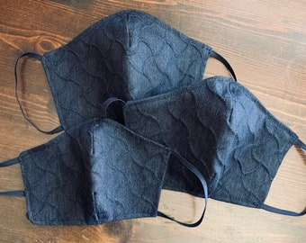 PM2.5 filter included - Indigo Textured Light Weight Denim Mask with Navy Filter Pocket - Made in the USA- No Center Mask Seam