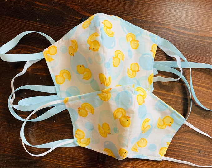 PM 2.5 filter included -Rubber Ducky Bubble Bath Mask with Filter Pocket - Made in the USA- No Center Mask Seam