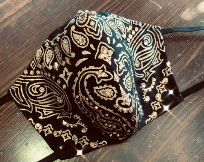 Black and Gold Bandana Crystal Mask with Filter Pocket - PM 2.5 filter included- No Center Mask Seam