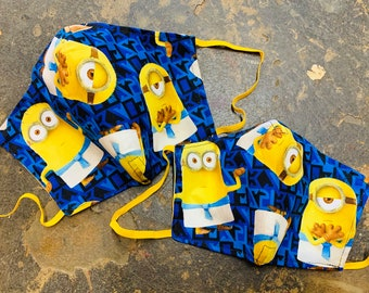 Egyptian Minions Mask with Yellow Filter Pocket - PM 2.5 filter included - No Center Mask Seam