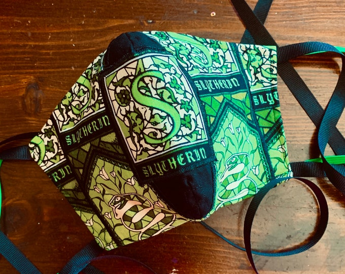 Slytherin Face Mask - Harry Potter Mask with Filter Pocket -PM 2.5 filter included