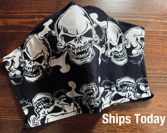 PM2.5 filter included - Biker Skull Mask with Black Filter Pocket