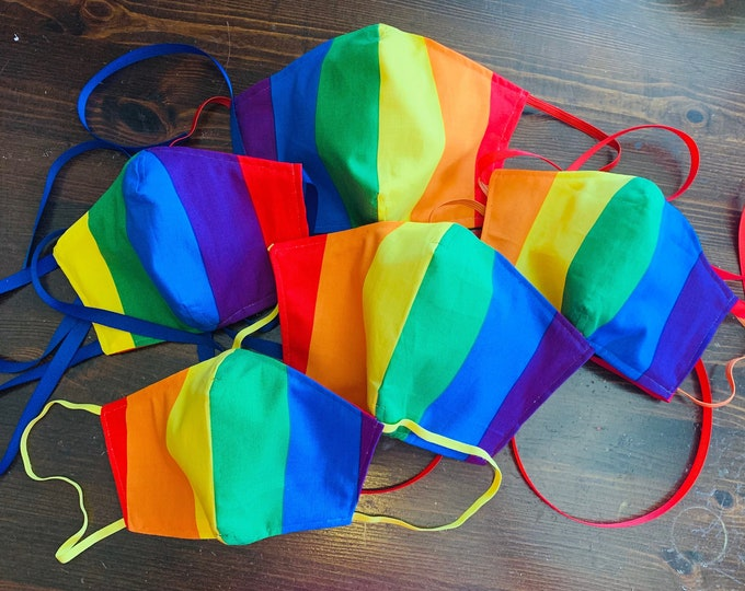 Rainbow Mask with Filter Pocket - Rainbow Face Mask - PM 2.5 filter included