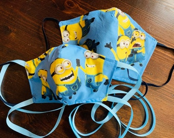 PM 2.5 filter included -Playful Minions Mask with Yellow Filter Pocket - Made in the USA- No Center Mask Seam
